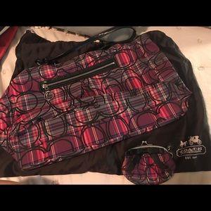 Coach plaid bag w/ coin purse & protective bag